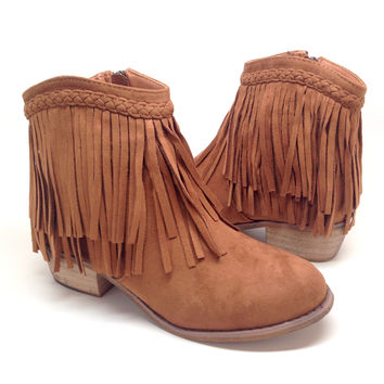 Tan Low Boot with Fringe Detail