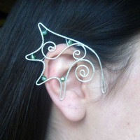 Silver Plated Handmade Wire Wrapped Dragon Ear Cuffs With Green Faceted Glass Beads. Dragon Ears, Fancy Dress, LARP