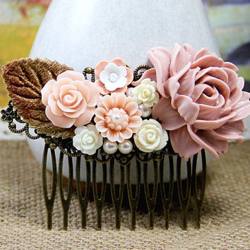 Bridal Hair Comb Peach Peony Bouquet HairComb Cottage Flower Collage Filigree Comb Rose Hair Jewelry Vintage Wedding Bridesmaid Hairpiece