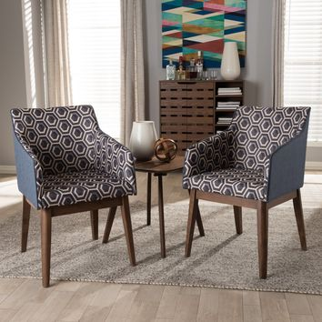 Baxton Studio Reece Mid-Century Modern 3-Piece Lounge Chair and Side Table Set Set of 1
