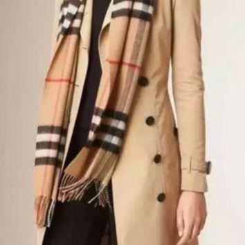 100% CASHMERE BRAND NEW AUTHENTIC BURBERRY SCARF CAMEL CHECK Multi-Color