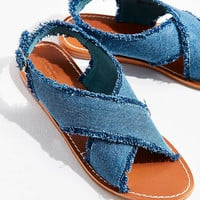 Frayed Denim Cross-Strap Sandal | Urban Outfitters