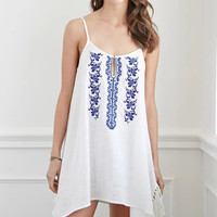 Spaghetti Strap Flower Embroidery Fringed A-Line Mini Dress