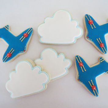 Airplane and Cloud Cookies - 12 - One Dozen