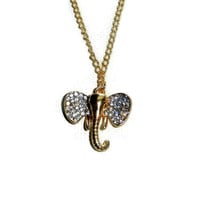14 KT Gold Elephant Charm Necklace with Rhinestones
