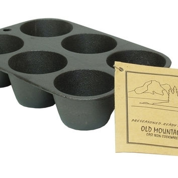Old Mountain Cast Iron Muffin Pan 6 Impression