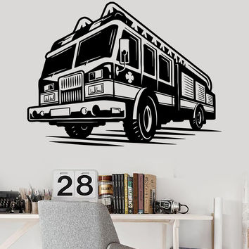 Vinyl Wall Decal Firefighter Fire Truck Engines Children Room Stickers (ig3509)