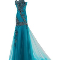 Sunvary V Necklin Mermaid Style Prom Dresses Evening Party Dresses with Appliques Long Mother of the Bride Dress Size 16- Blue