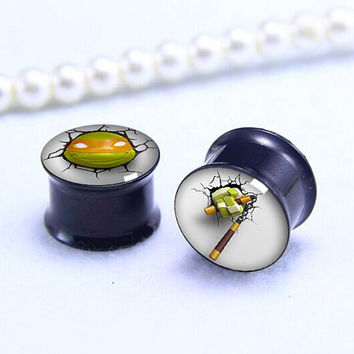 Yellow  eyes TMNT  3D  ear Plug  , Black Screw on Gauge ear plugs , Black Titanium ear plugs ,0g,00g ,1/2, 9/16, 5/8, 3/4, 7/8,