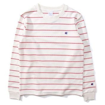 CREYV9O Champion Women Men Stripe Fashion Pullover Tops Sweater Hoodie Pink G