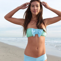 The Girl and The Water - Lolli - Bow Bandeau Top Sky/Mint - $79