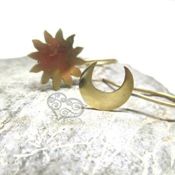 Sun & Moon earrings / Handmade soldered jewelry