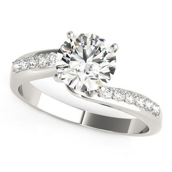 Bypass Round Diamond Vintage Style Pave Band Engagement Ring (1 5/8 ct. tw.)