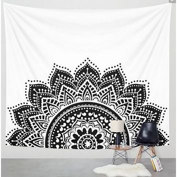 Black and White Tapestry Mandala Half Circle