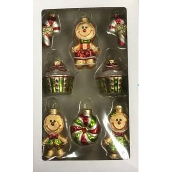 8ct Gingerbread Men and Candies Design Glass Christmas Ornament Set