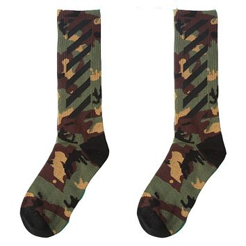 Off-White personality camouflage hip-hop men and women soccer high tube socks