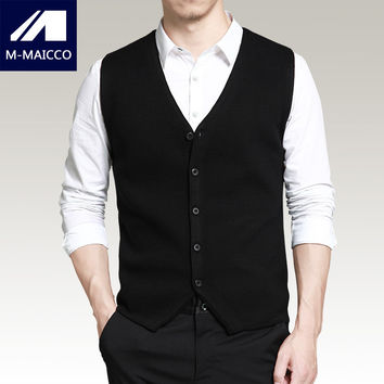 M-MAICCO Men's wool knit vest Western style simple 2017 spring new V-neck sleeveless vest slim Brand men business casual sweater