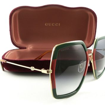 New Gucci Sunglasses GG0106S Gold Green Red 007 Authentic