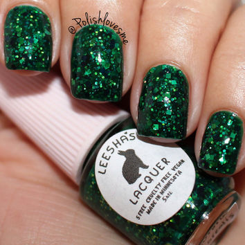 Green Jelly Nail Polish, Glitter Nail Polish - Aurora Borealis - Jelly's from Outer Space Collection