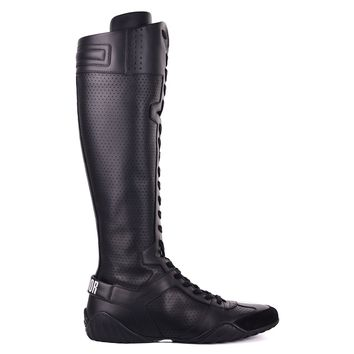 Dior Womens Black D-Fence Leather Suede Sneaker Boots
