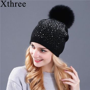 aa36b4c3bb1  Xthree  women winter beanie hat Rabbit fur wool knitted hat the