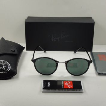 RAY-BAN LIGHTRAY ROUND SUNGLASSES RB4242 601/71 BLACK/GREEN CLASSIC LENS 49MM