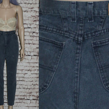 90s High Waist Mom Jeans Tapered Distressed Skinny Dark Medium Wash Waist Grunge Hipster Pastel Goth Festival Lee Denim 8 10 29 28 Boho M L