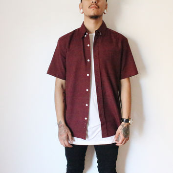 Zack Collar Button Shirt (Burgundy)
