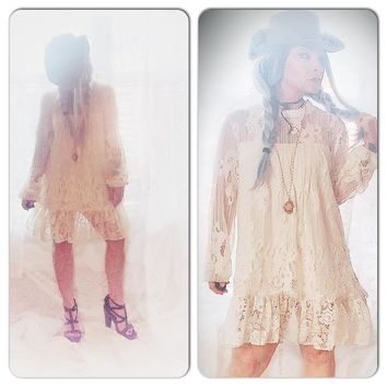 Country creme lace crochet tunic dress, boho chic spring dress, True Rebel clothing