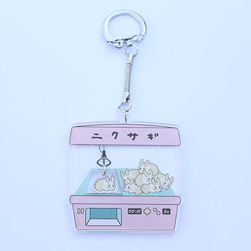 PRE-ORDER win a bun: two charms in one clear acrylic keychain niku version