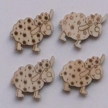 Wooden Sheep 2, Set composed by 4 Wooden Sheep, Lasercut, Embellishments for Craft Projects