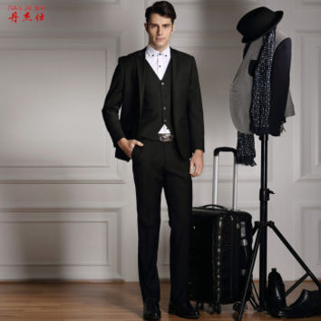 Foremode suit male business casual suit slim men groom wedding dress dress 3 Piece Set Black 170/74A-M (48)