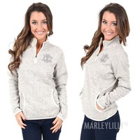 Monogrammed Heathered Fleece Pullover | Marleylilly