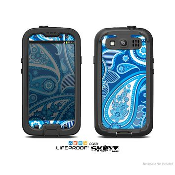 The Vibrant Blue Paisley Design Skin For The Samsung Galaxy S3 LifeProof Case