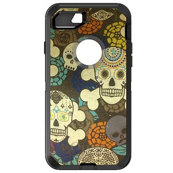 DistinctInk™ OtterBox Defender Series Case for Apple iPhone / Samsung Galaxy / Google Pixel - Sugar Skulls Green Orange