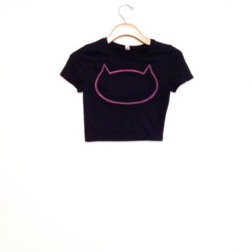 Pink cat head crop top, black crop top, cat outline, crazy cat lady, tshirt, tee, gift for cat lover, hipster, yoga apparel, work out shirt