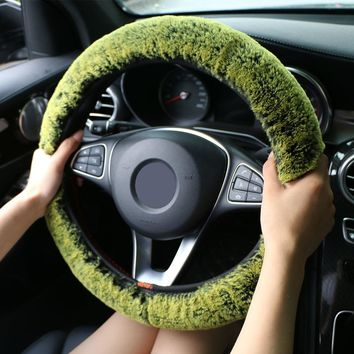 Winter Super Soft Plush Car Steering Wheel Cover Universal,Warm Faux Fur Auto Handlebar on the Steering-Wheel Braid Beautiful