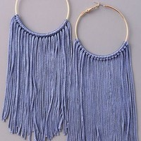 Fringe Hoop Earrings {Blue}