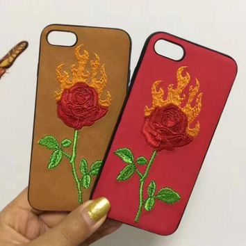 DCCKN6V Fashion flame roses embroider silica gel phone case loving heart iPhone 6 s mobile phone shell iPhone 7 plus shell