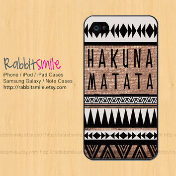 HAKUNA MATATA iPhone 4, 5 Case, Wood Aztec iPhone 5 case iPhone 4 Case, Tribal Geometric Pattern iPhone 4s Cover, Hard Plastic iphone