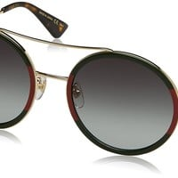 Gucci Womens Round Sunglasses, Gold/Green, OS