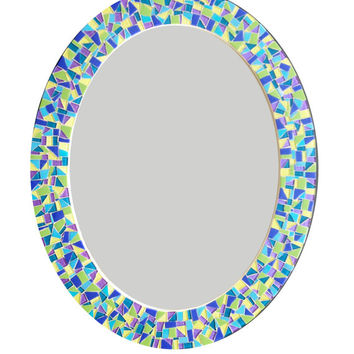 Oval Mosaic Wall Mirror in Blue, Purple, Green, Yellow