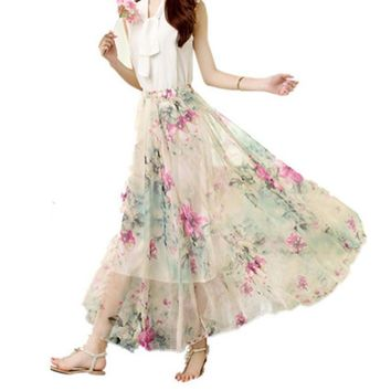 Women Chiffon Floral High Waist Maxi Dress Skater Flared Pleated Long Skirt
