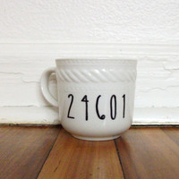 24601 Hand Illustrated Sharpie Mug Cup Les Miserables Quote Minimal Modern Contemporary Art Upcycle Porcelain Ceramic White Unique Gift