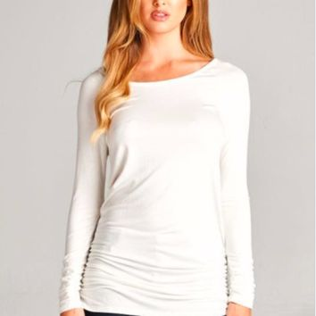 Side Rouched Tunic Top - White