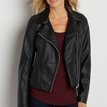 faux leather moto jacket | maurices