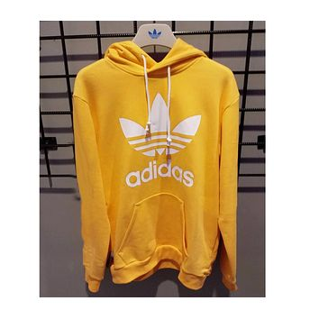 ADIDAS YELLOW HOODIE FASHION WOMEN MEN LONG SLEEVE SWEATER TOP