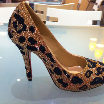 Bling LEOPARD crystal High heel shoe 4 handmade w/ by Crystaljam