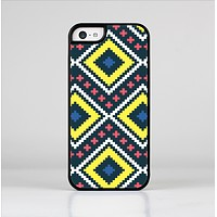The Gold & Black Vector Plaid Skin-Sert Case for the Apple iPhone 5c
