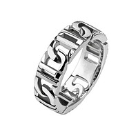 Tire Tracks - FINAL SALE Polished silver stainless steel chain link men's ring
